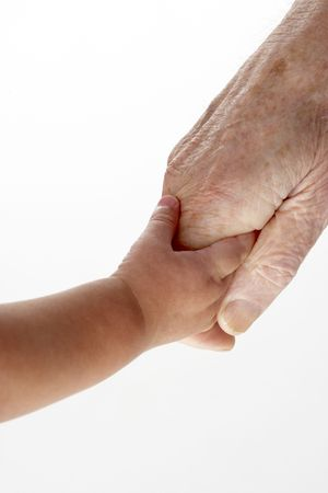 generation gap: Grandfather and granddaughter holding hands