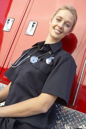 Portrait of female paramedic photo