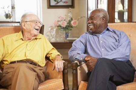 male senior adult: Senior men relaxing in armchairs Stock Photo