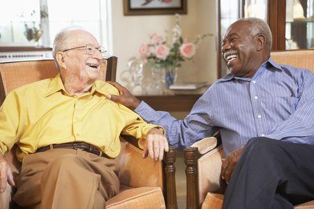 nursing home: Senior men relaxing in armchairs Stock Photo