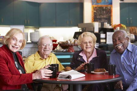 morning tea: Senior adults having morning tea together