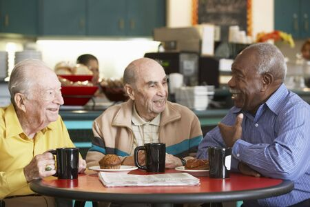 Senior men drinking tea together Stock Photo - 4607600