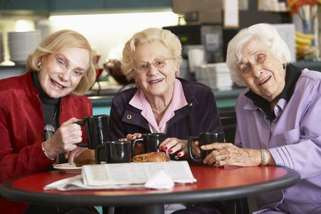Senior women drinking tea together photo