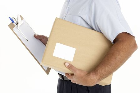 courier man: Courier Holding A Parcel And Clipboard