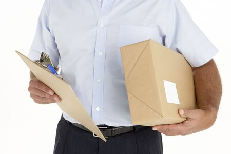 cropped shots: Courier Holding A Parcel And Clipboard