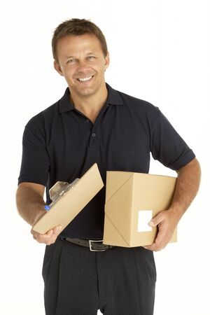 Courier Holding A Parcel And Clipboard Stock Photo - 4638886