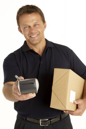 Courier Holding A Parcel And Electronic Clipboard photo