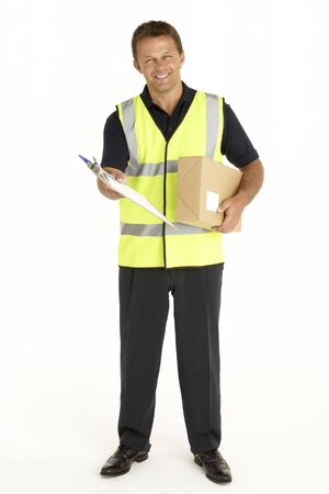 Courier Holding A Parcel And Clipboard photo