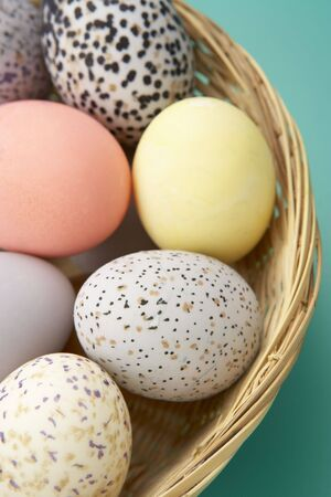 Colorful Eggs In A Basket photo