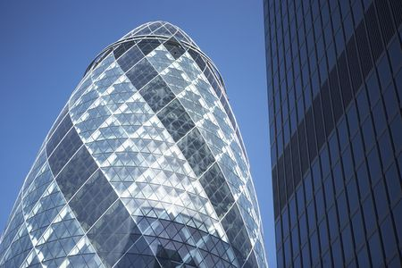 place of interest: Glass Exterior Of Swiss Re Tower, London, England