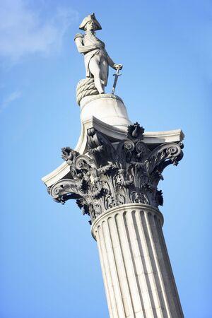 trafalgar: Nelsons Column In Trafalgar Square, London, England