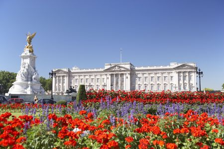 Buckingham Palace With Flowers Blooming In The Queens Garden, London, England photo
