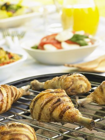 Chicken Cooking On A Grill Stock Photo - 4638981