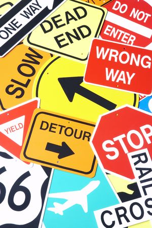motoring: Group Of Road Signs