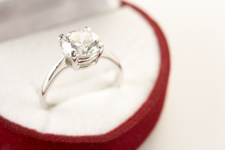 Diamond Engagement In Heart Shaped Ring Box photo