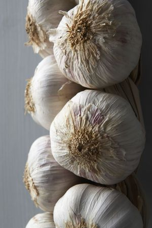 wallingford: Garlic Cloves Hanging From String Stock Photo