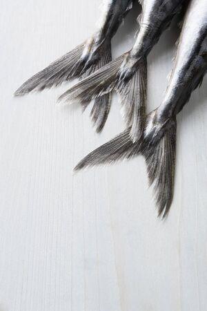 mackerel: Fresh Fish On Bench Stock Photo