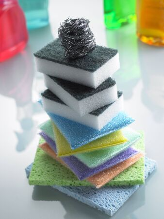 Stack Of Colorful Sponges photo