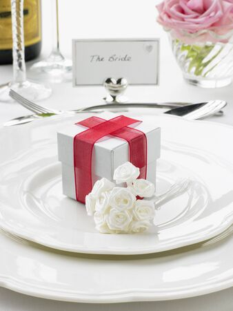 Place Settings For Bride And Groom At Reception Stock Photo - 4638518