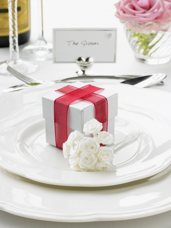 Place Settings For Bride And Groom At Reception Stock Photo - 4638795