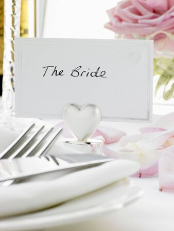 Place Settings For Bride And Groom At Reception Stock Photo - 4638754