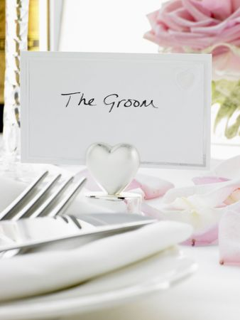 wedding food: Place Settings For Bride And Groom At Reception