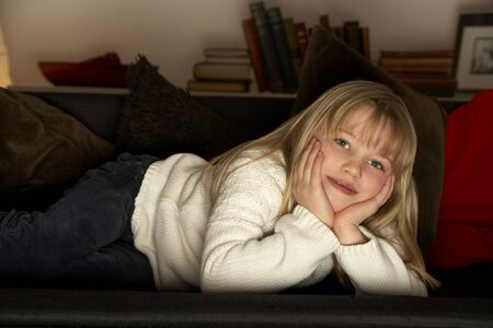 Young Girl Watching Television Stock Photo - 4644757