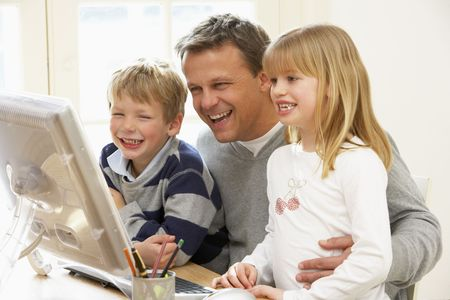 Father And Children Using Computer Stock Photo - 4644809