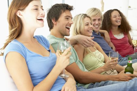 Friends Watching Television Together Stock Photo - 4645042