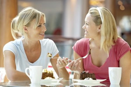 two friends talking: Female Friends Having Lunch Together At The Mall