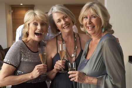 socializando: Amigos disfrutando de una copa de champ�n en una fiesta