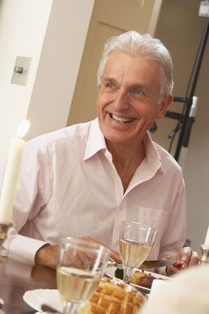 Man Eating Dinner At Home Stock Photo - 4646046