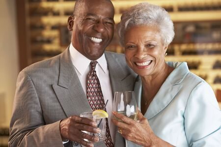 Couple Enjoying A Drink At A Bar Together Stock Photo - 4645987