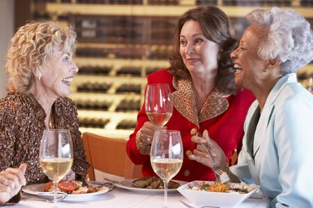 friendship women: Friends Having Dinner Together At A Restaurant