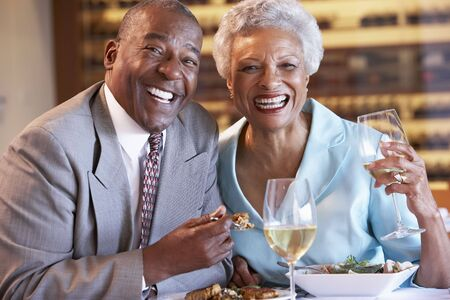 Senior Couple Having Dinner Together At A Restaurant Stock Photo - 4646067