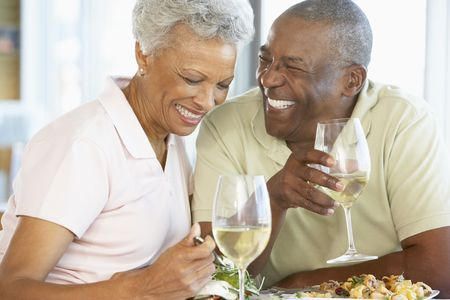 Senior Couple Having Lunch Together At A Restaurant Stock Photo - 4645887