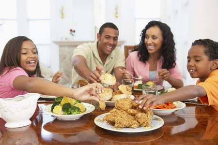 Family Having A Meal Together At Home photo