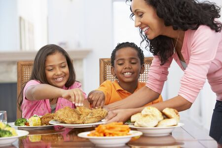 Mother Serving A Meal To Her Children At Home photo