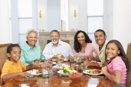 Family Having A Meal Together At Home Stock Photo - 4645912