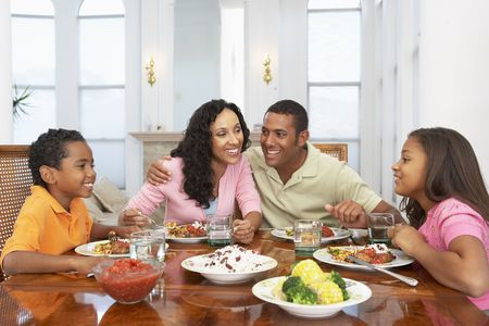 family dining: Family Having A Meal Together At Home