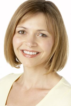 middle aged woman smiling: Middle Aged Woman Smiling Stock Photo