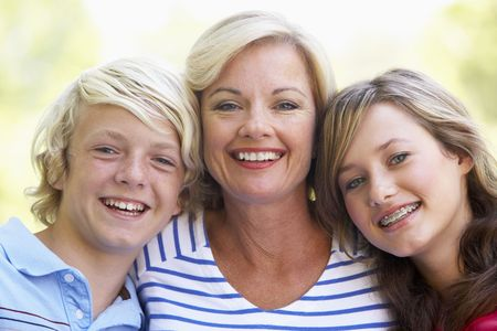 Woman And Her Teenage Children photo