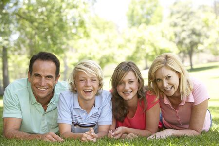 Couple And Their Teenage Children Lying On Grass Stock Photo - 4646480