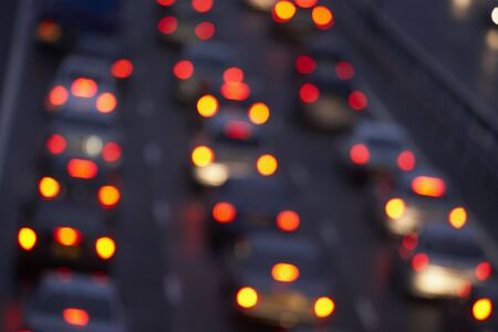 brightly: Tail Lights Shining Brightly In A Traffic Jam On Motorway