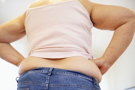 gain: Detail Of Overweight Woman