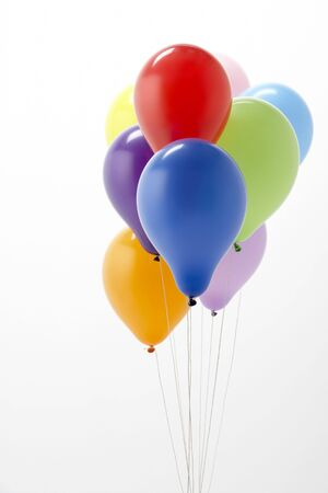Colorful Party Balloons Against White Background photo