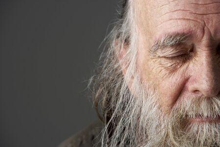 homelessness: Senior Man With Long Beard