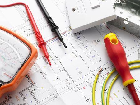Sprzęt elektryczny Na House Plans Zdjęcie Seryjne
