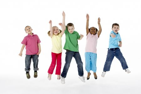 frienship: Group Of Young Children In Studio Stock Photo
