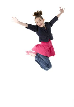Young Girl Leaping In Air photo
